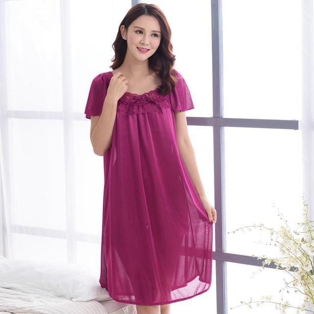 Women Silk Lace Trimmed Night Gown / 2 Piece Short Set-601fuchsia-M-JadeMoghul Inc.