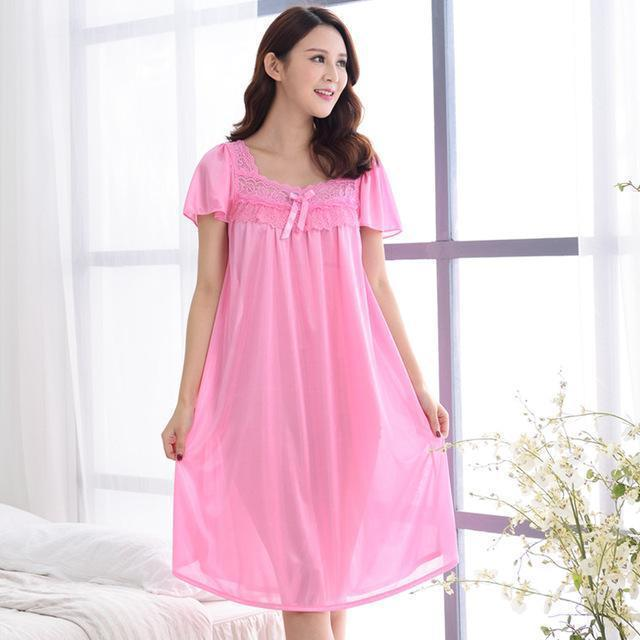 Women Silk Lace Trimmed Night Gown / 2 Piece Short Set-601pink-M-JadeMoghul Inc.
