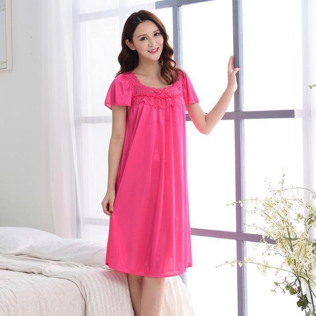 Women Silk Lace Trimmed Night Gown / 2 Piece Short Set-601rose red-M-JadeMoghul Inc.