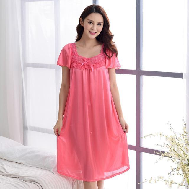 Women Silk Lace Trimmed Night Gown / 2 Piece Short Set-601Watermelon red-M-JadeMoghul Inc.