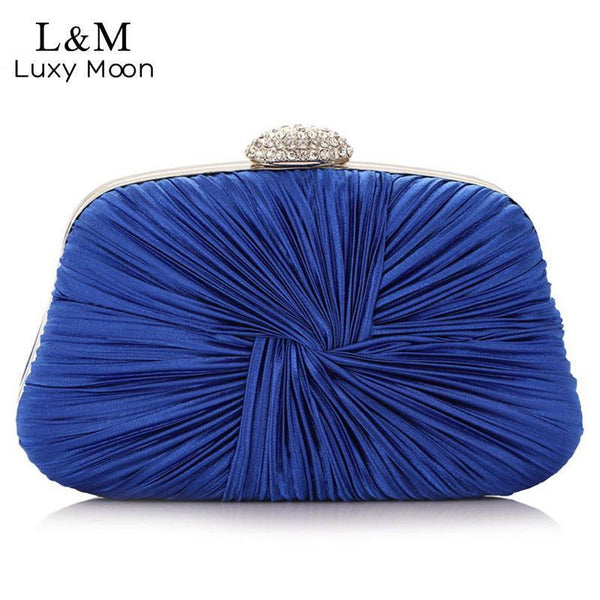 Women Silk Pleated Bow Evening Clutch-blue-JadeMoghul Inc.