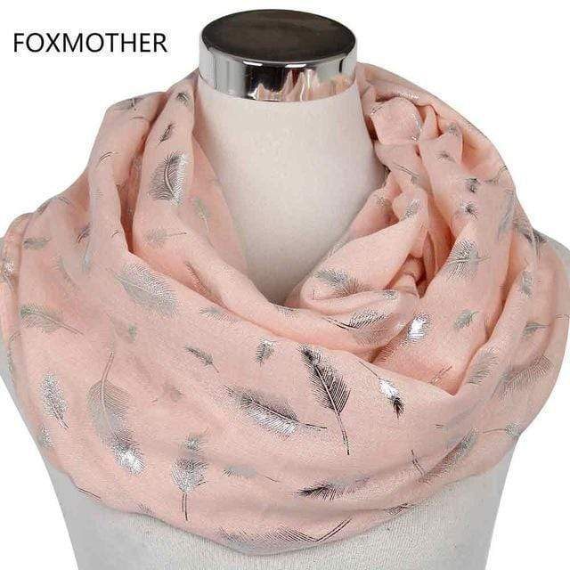 Women Silver Feather Printed Infinity Scarf AExp