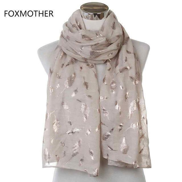 Women Silver Feather Printed Infinity Scarf-Beige Gold Long-JadeMoghul Inc.