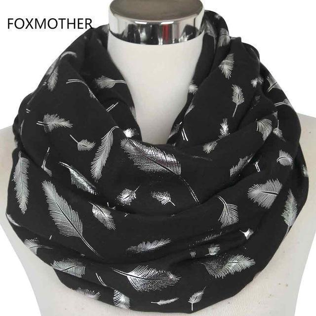 Women Silver Feather Printed Infinity Scarf-Black-JadeMoghul Inc.