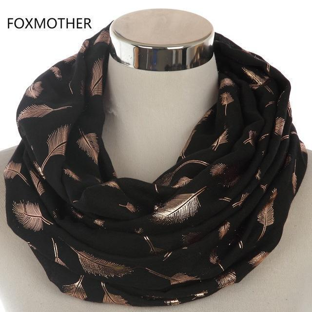 Women Silver Feather Printed Infinity Scarf-Black Gold-JadeMoghul Inc.