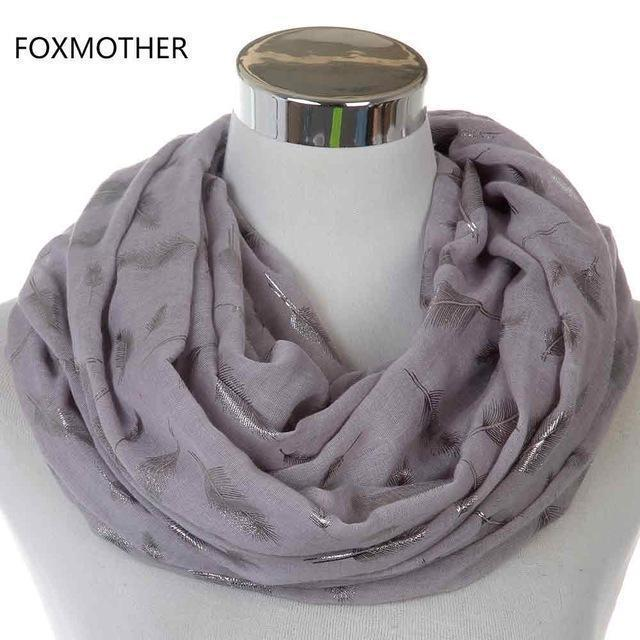 Women Silver Feather Printed Infinity Scarf-Grey-JadeMoghul Inc.
