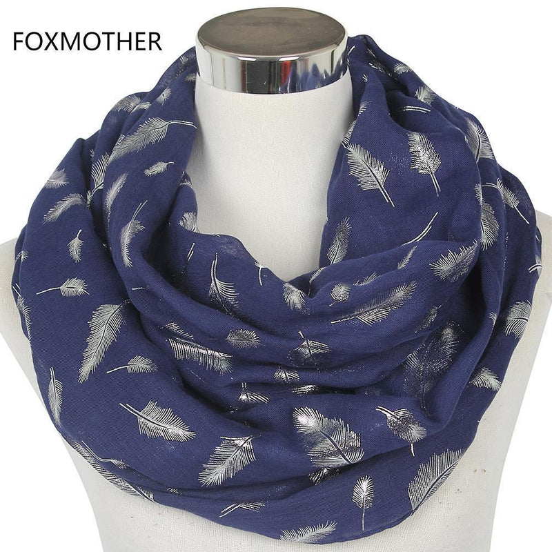 Women Silver Feather Printed Infinity Scarf-Navy Blue-JadeMoghul Inc.