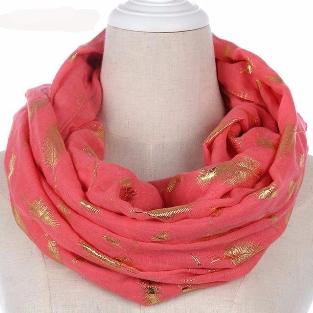 Women Silver Feather Printed Infinity Scarf-watermelon red gold-JadeMoghul Inc.