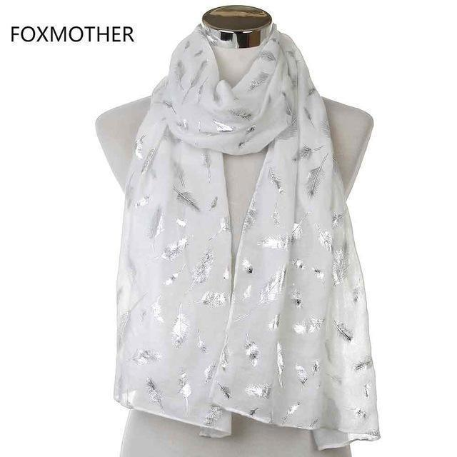 Women Silver Feather Printed Infinity Scarf-White Long-JadeMoghul Inc.