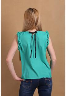Women Sleeveless Chiffon Shirt Top With bow Decoration At The Back-CGreen-L-JadeMoghul Inc.