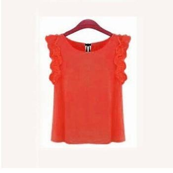 Women Sleeveless Chiffon Shirt Top With bow Decoration At The Back-Orange-L-JadeMoghul Inc.