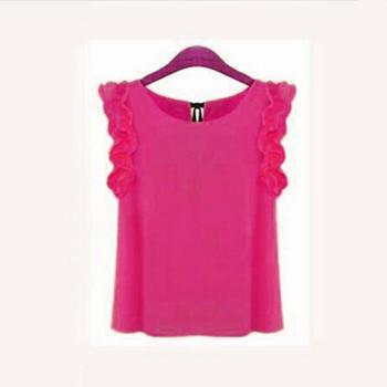 Women Sleeveless Chiffon Shirt Top With bow Decoration At The Back-Rose-L-JadeMoghul Inc.
