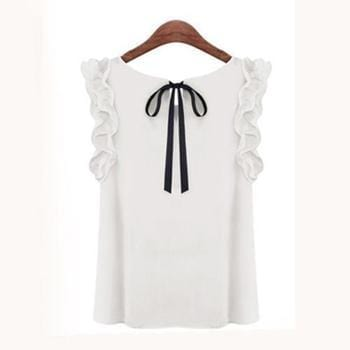Women Sleeveless Chiffon Shirt Top With bow Decoration At The Back-White-L-JadeMoghul Inc.