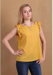 Women Sleeveless Chiffon Shirt Top With bow Decoration At The Back-YBrown-L-JadeMoghul Inc.