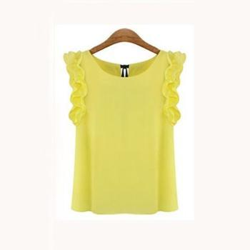 Women Sleeveless Chiffon Shirt Top With bow Decoration At The Back-Yellow-L-JadeMoghul Inc.