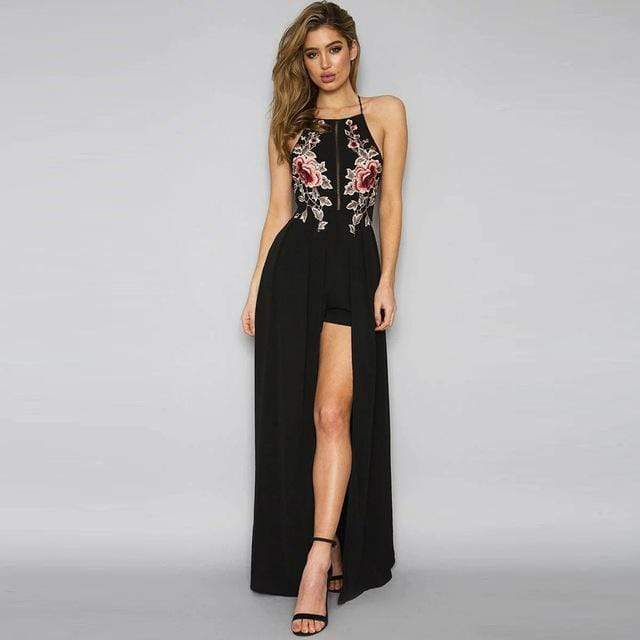 Women Sleeveless Embroidered Maxi Dress With Front Open Slit AExp