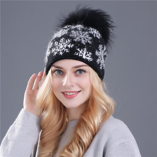 Women Snow Flake Print Hat With Real Rabbit Fur Pom Pom Trim-black hat pom-JadeMoghul Inc.