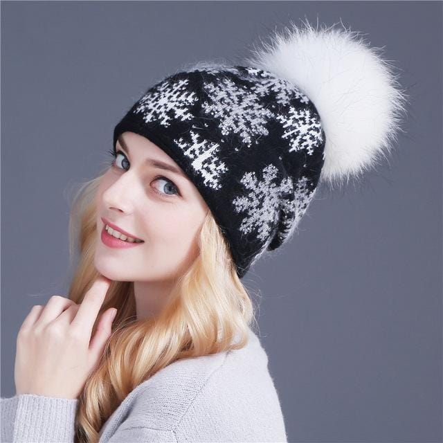 Women Snow Flake Print Hat With Real Rabbit Fur Pom Pom Trim-black hat white pom-JadeMoghul Inc.
