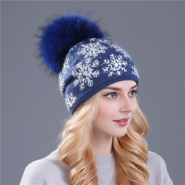 Women Snow Flake Print Hat With Real Rabbit Fur Pom Pom Trim-blue hat dark pom-JadeMoghul Inc.