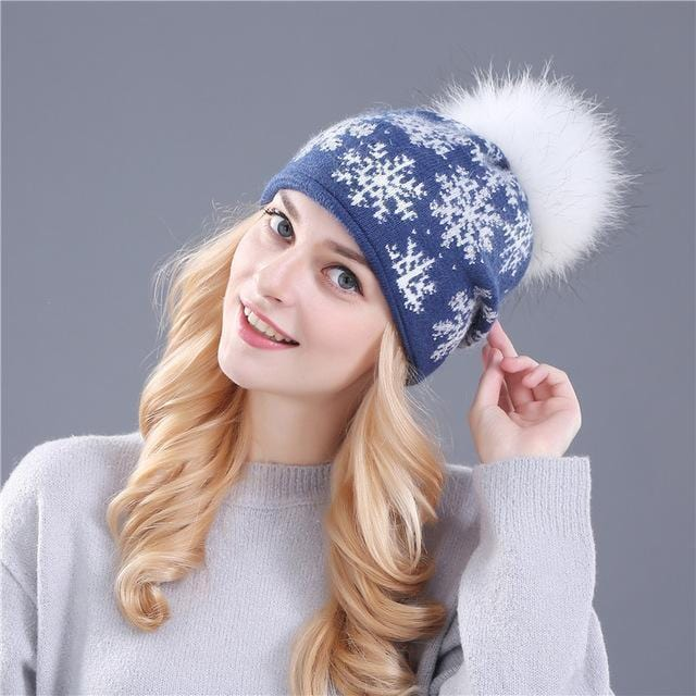 Women Snow Flake Print Hat With Real Rabbit Fur Pom Pom Trim-blue hat white pom-JadeMoghul Inc.