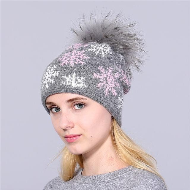 Women Snow Flake Print Hat With Real Rabbit Fur Pom Pom Trim-gray hat gray pom-JadeMoghul Inc.