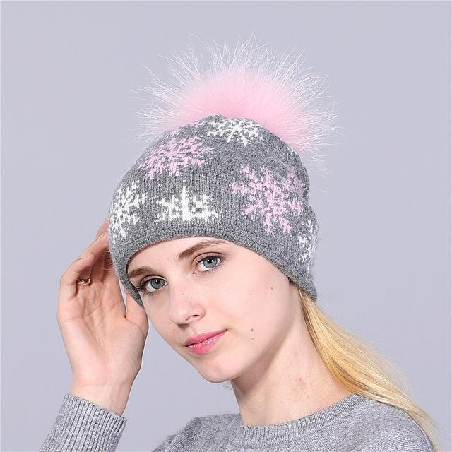 Women Snow Flake Print Hat With Real Rabbit Fur Pom Pom Trim-gray hat pink pom-JadeMoghul Inc.
