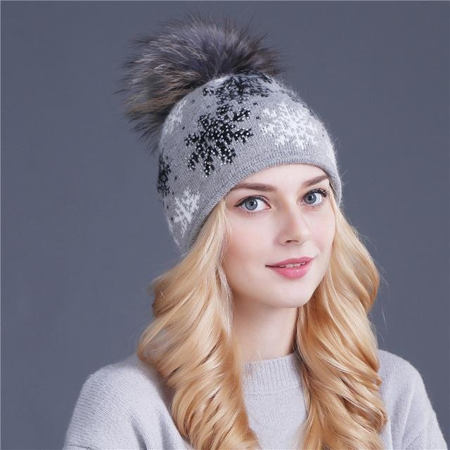 Women Snow Flake Print Hat With Real Rabbit Fur Pom Pom Trim-gray hat pom-JadeMoghul Inc.