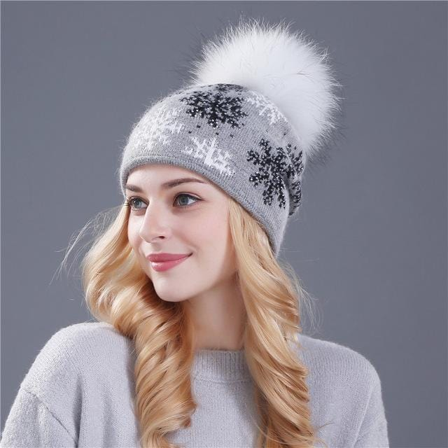 Women Snow Flake Print Hat With Real Rabbit Fur Pom Pom Trim-gray hat white pom-JadeMoghul Inc.