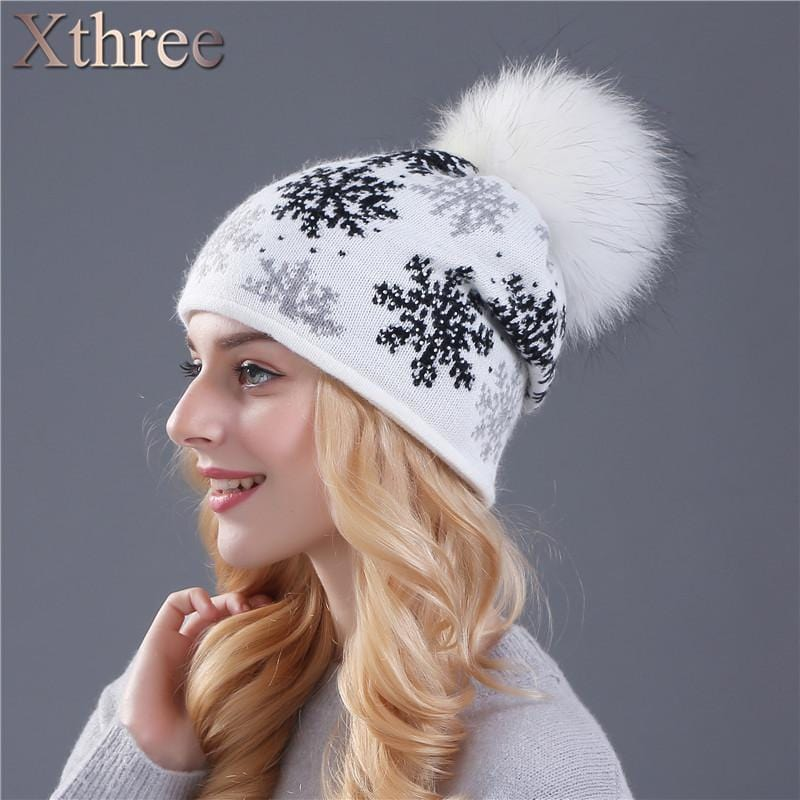 Women Snow Flake Print Hat With Real Rabbit Fur Pom Pom Trim-white hat pom-JadeMoghul Inc.