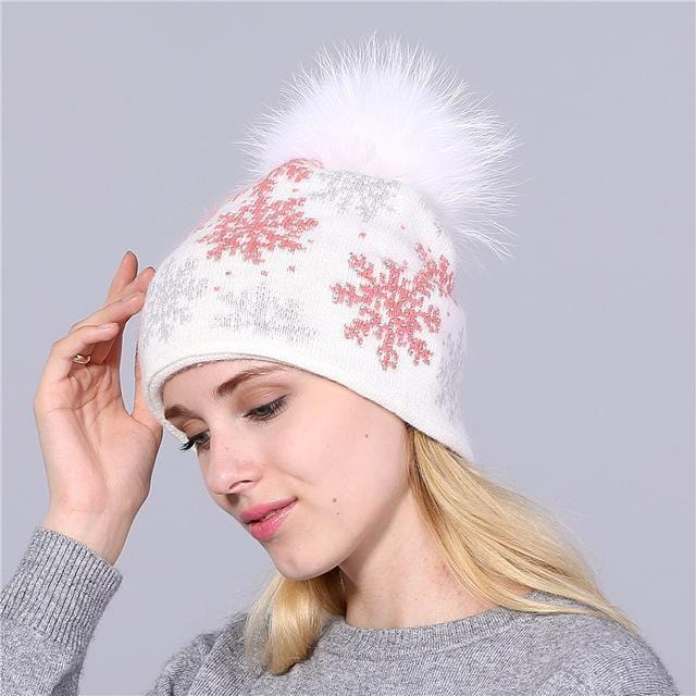 Women Snow Flake Print Hat With Real Rabbit Fur Pom Pom Trim-white pink hat-JadeMoghul Inc.