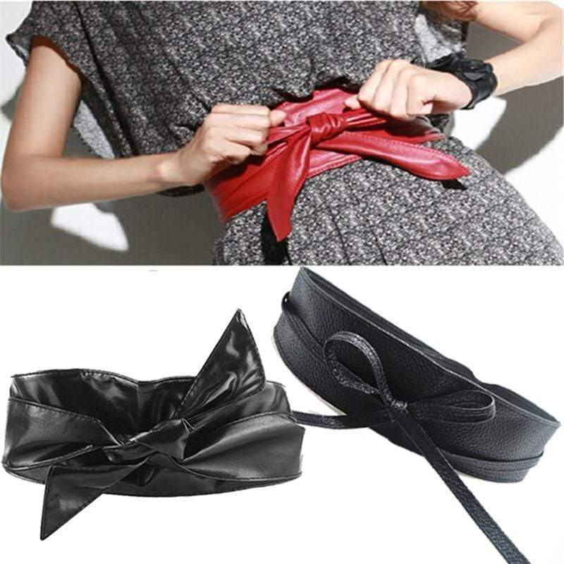 Women soft Faux Leather Long Body Shaping Bow Tie Belt AExp