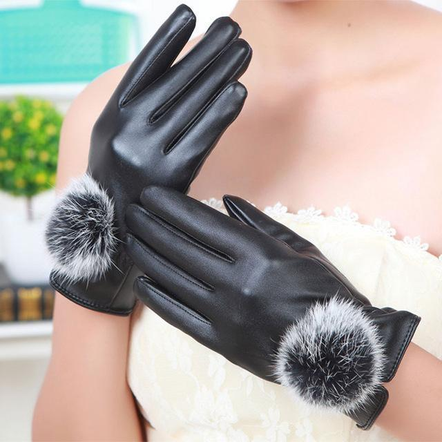 Women Soft PU Leather Gloves With Fur Pom Pom Detailing-Black-JadeMoghul Inc.