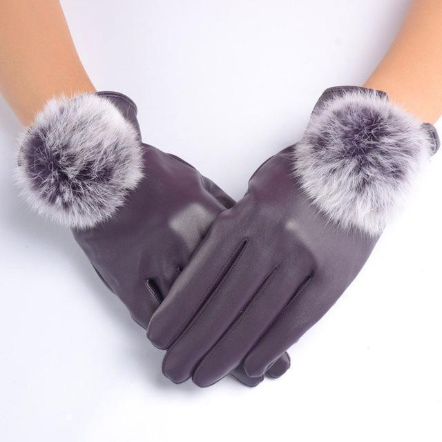 Women Soft PU Leather Gloves With Fur Pom Pom Detailing-Purple-JadeMoghul Inc.