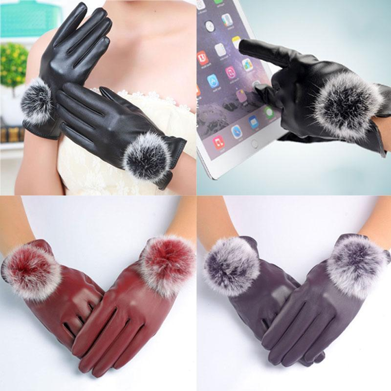 Women Soft PU Leather Gloves With Fur Pom Pom Detailing-Red-JadeMoghul Inc.