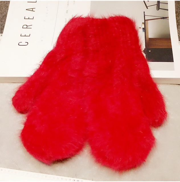 Women Soft Wool/ Fur Winter Mittens/ Gloves In Solid Colors AExp