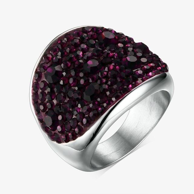 Women Solid Color Rhinestone Stainless Steel Fashion Ring-6-Purple-JadeMoghul Inc.