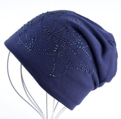 Women Solid color Slouch beanie/ Hat With Rhinestone Floral Detailing-Blue-JadeMoghul Inc.