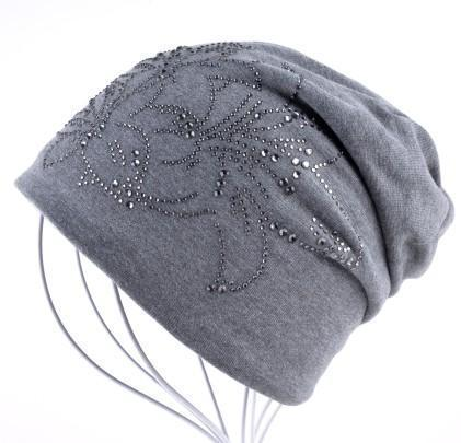 Women Solid color Slouch beanie/ Hat With Rhinestone Floral Detailing-Gray-JadeMoghul Inc.