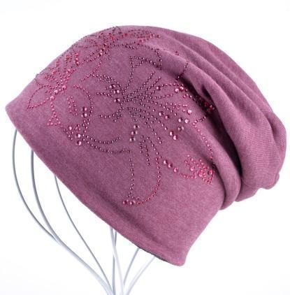 Women Solid color Slouch beanie/ Hat With Rhinestone Floral Detailing-Red-JadeMoghul Inc.