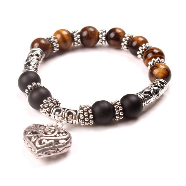 Women Stretchable Bead And heart Charm Bracelet-brown-JadeMoghul Inc.