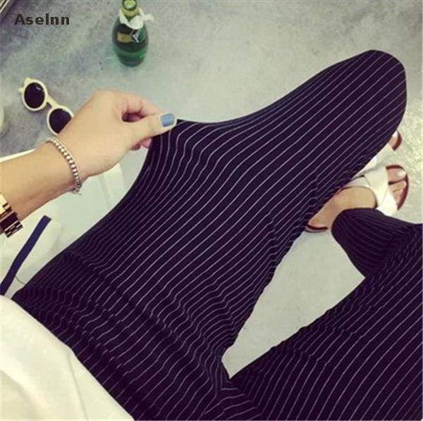 Women Striped Cotton Ankle Length Stretch Pants AExp