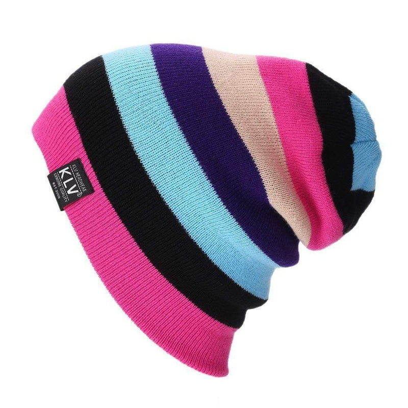Women Striped Slouch Beanie / Hat AExp