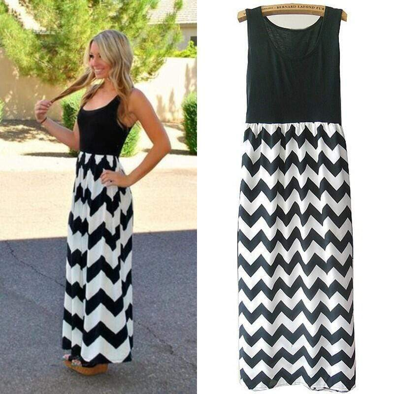 Women Summer Beach Boho Maxi Dress 2016 High Quality Brand Striped Print Long Dresses Feminine Plus Size AExp