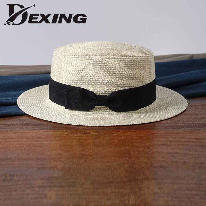 Women Summer Straw Hat With Ribbon Bow Detailing AExp