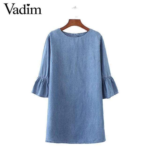 Women Sweet Flared Sleeve Summer Denim Dress Shirt AExp