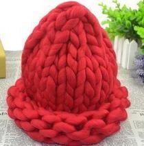 Women Thick Wool Hand Knit Beanie/Hat-Red-JadeMoghul Inc.