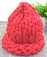 Women Thick Wool Hand Knit Beanie/Hat-watermelon red-JadeMoghul Inc.