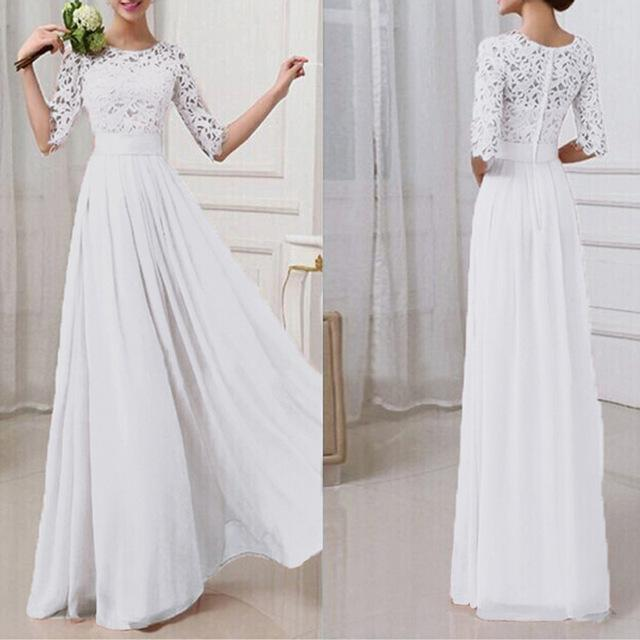 Women Three Quarter Sleeves Lace Chiffon Party Dress AExp