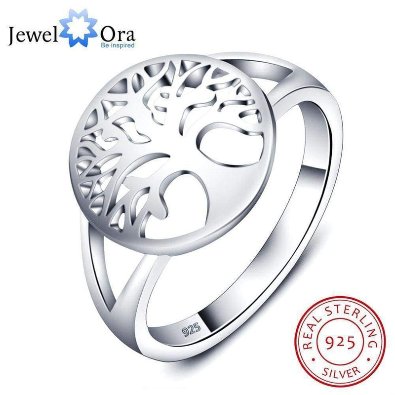 Women Tree of Life Classic Pure 925 Sterling Silver Ring AExp