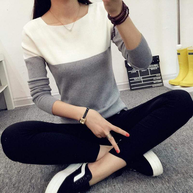 Women Two Toned Full Sleeved Sweater AExp